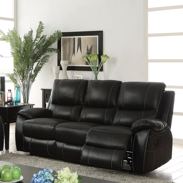 Furniture Of America Neler Black Leather Contemporary Reclining Sofa