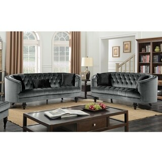 Furniture of America Sevi Glam 3-piece Tufted Flannelette Sofa Set