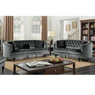 Furniture of America Sevi Glam Grey Fabric Tufted 2-piece Sofa Set