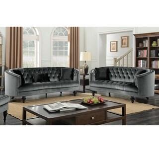 Furniture of America Sevi Glam Grey Fabric Tufted 2-piece Sofa Set