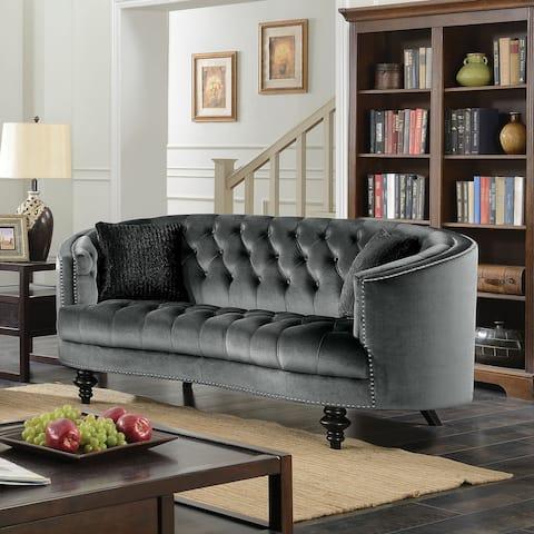 Furniture of America Sevi Glam Fabric Tufted Loveseat