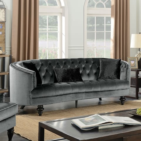 Furniture of America Sevi Glam Fabric Tufted Sofa with Pillows