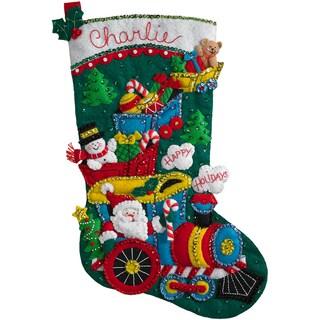 "Choo Choo Santa Stocking Felt Applique Kit-18"" Long"