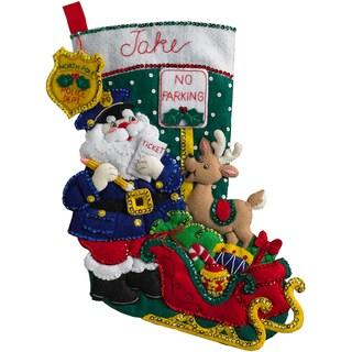"Officer Santa Stocking Felt Applique Kit-18"" Long"