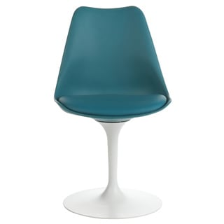 Mid-Century Modern Tulip Swivel Chair, Teal Leather