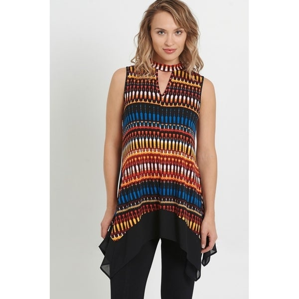 August Silk Sleeveless Top with Mock Choker V-neck and Goergette Trim