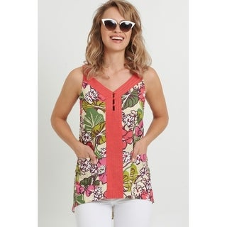 August Silk Linen Tunic with solid placket and Floral Print