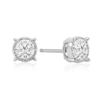 1 Carat TDW Diamond Miracle Stud Earrings In 14 Karat White Gold (I-J, I1-I2) - White I-J