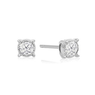1/3 Carat TDW Diamond Miracle Stud Earrings In 14 Karat White Gold (I-J, I1-I2) - White I-J