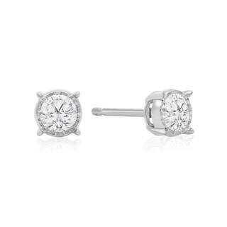 1/2 Carat TDW Diamond Miracle Stud Earrings In 14 Karat White Gold (I-J, I1-I2) - White I-J