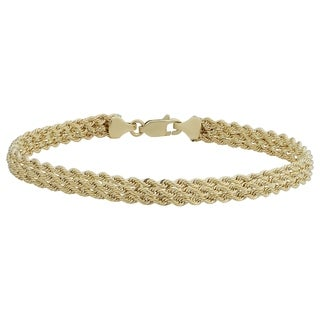 Fremada 14k Yellow Gold Triple Row Semi-solid Rope Bracelet (7.5 inches)