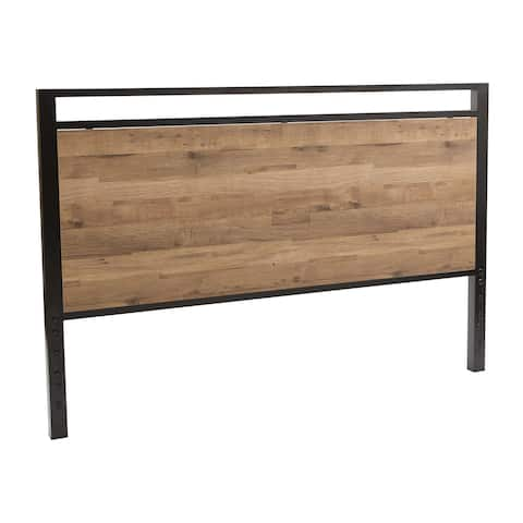 OSP Home Furnishings Quinton Queen Size Headboard and Footboard in Salvage Oak Laminate Finish