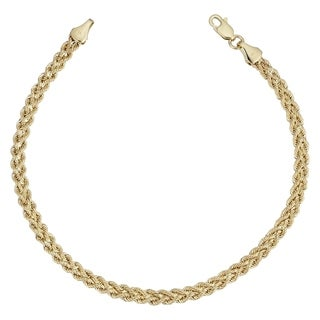 Fremada 14k Yellow Gold Double Row Semi-solid Rope Bracelet (7.5 inches)