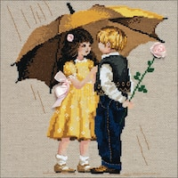 "First Date Counted Cross Stitch Kit-12""X12"" 14 Count"