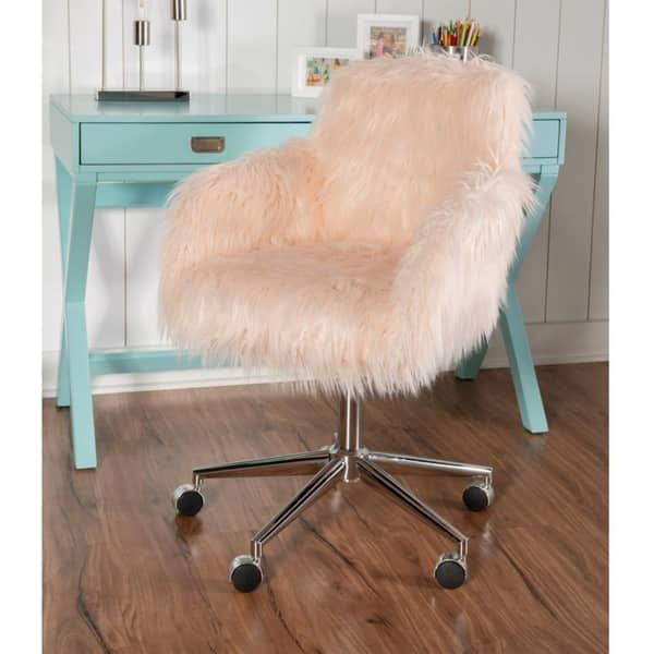 Shop Amber Pink Faux Fur Office Chair Overstock 17833467