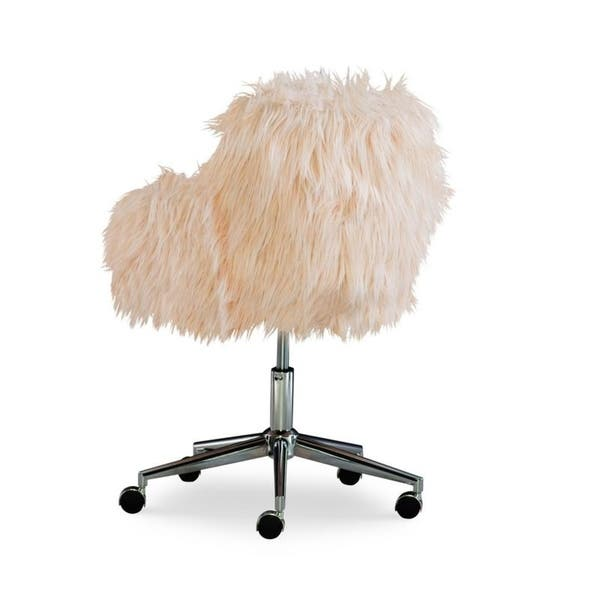 Amber Pink Faux Fur Office Chair