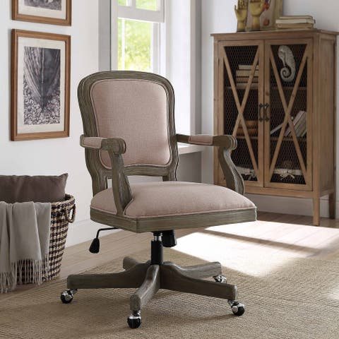 Willa Light Pink and Natural Wood Office Chair