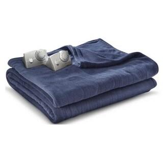 Biddeford MicroPlush Electric Heated Blanket Queen Denim Blue