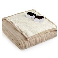 Biddeford 2063-9052140-700 MicroPlush Sherpa Electric Heated Blanket Queen Taupe