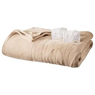 Biddeford MicroPlush Electric Heated Blanket Queen Linen Tan