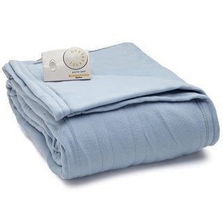 Biddeford Comfort Knit Fleece Electric Heated Blanket Twin Blue