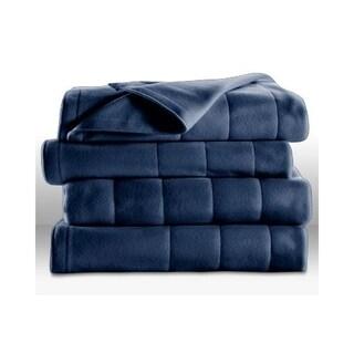 Sunbeam Heated Electric Blanket Quilted Fleece Royal Dreams King Newport Blue