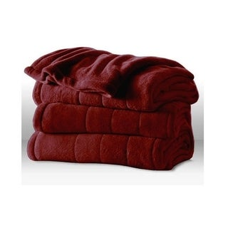 Sunbeam Heated Electric Blanket Channeled Microplush King Size Garnet Red