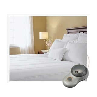 Sunbeam Thermofine Quilted Striped Heated Electric Mattress Pad Full Size