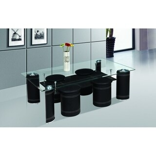 Best Quality Furniture Glass-top Black Coffee Table with 4 Nesting Stools