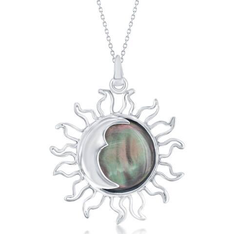 La Preciosa Sterling Silver Natural Abalone Shell Sun & Moon 18'' Necklace