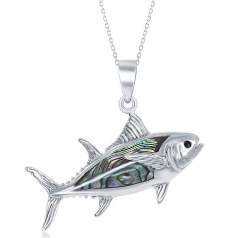 La Preciosa Sterling Silver Natural Abalone Shell Fish 18'' Necklace