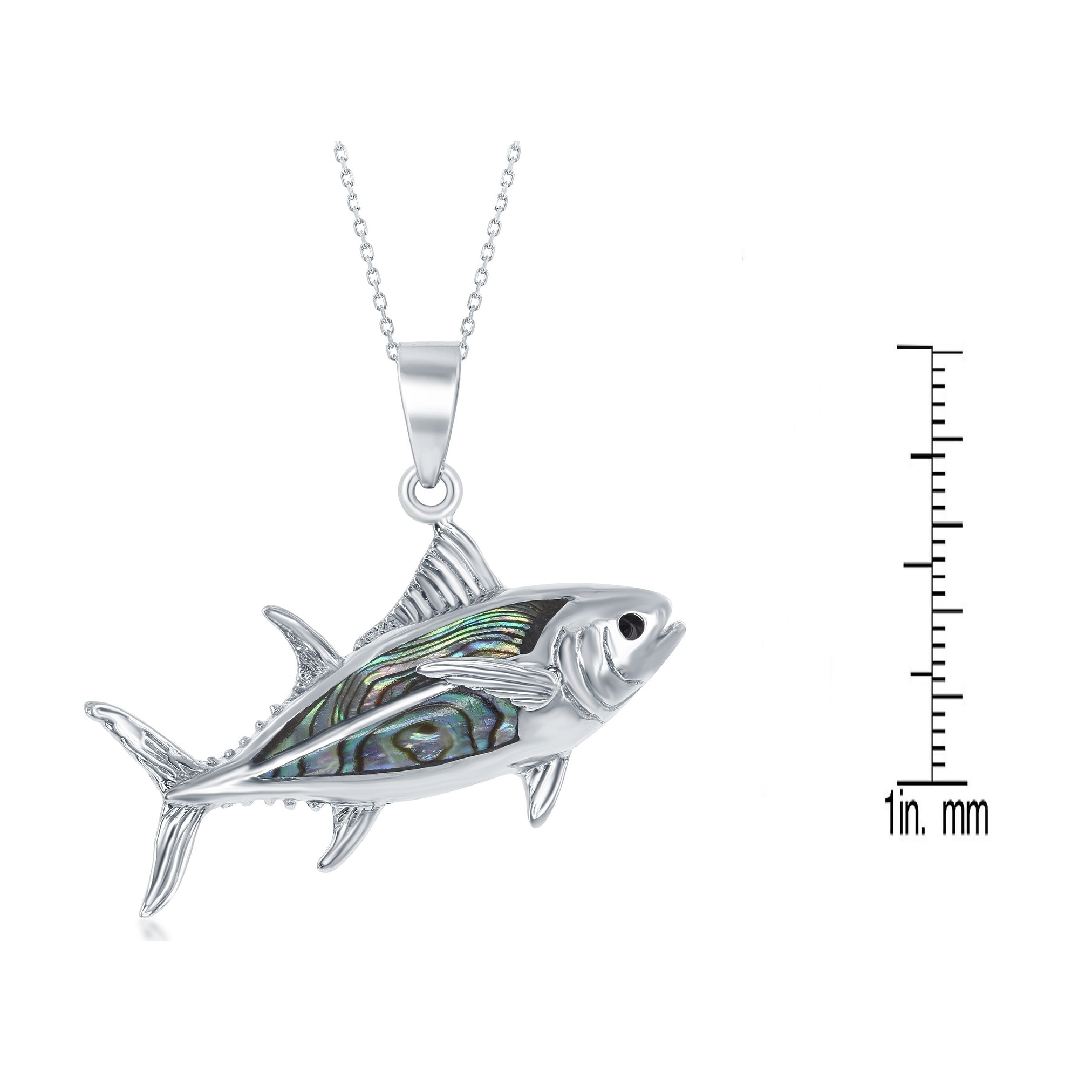 PENDANT ONE STERLING SILVER FISH CHARM 18 X 11 MM