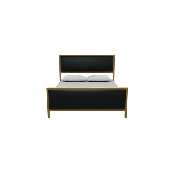 DHP Lennox Gold tone Black Metal Faux Leather Full Upholstered Bed   Free  Shipping Today   Overstock com   24024009. DHP Lennox Gold tone Black Metal Faux Leather Full Upholstered Bed