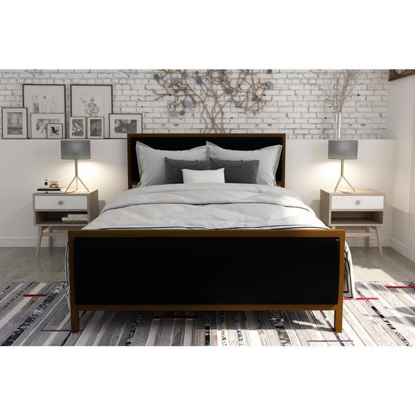 DHP Lennox Gold tone Black Metal Faux Leather Full Upholstered Bed. DHP Lennox Gold tone Black Metal Faux Leather Full Upholstered Bed