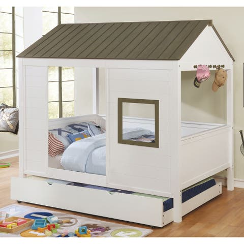 Furniture of America Jice White Full Solid Wood Youth House Bed