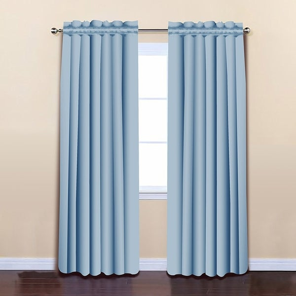 """ALEKO 52""""x84"""" Blue Thermal Insulated Blackout Curtain Panel Set"""