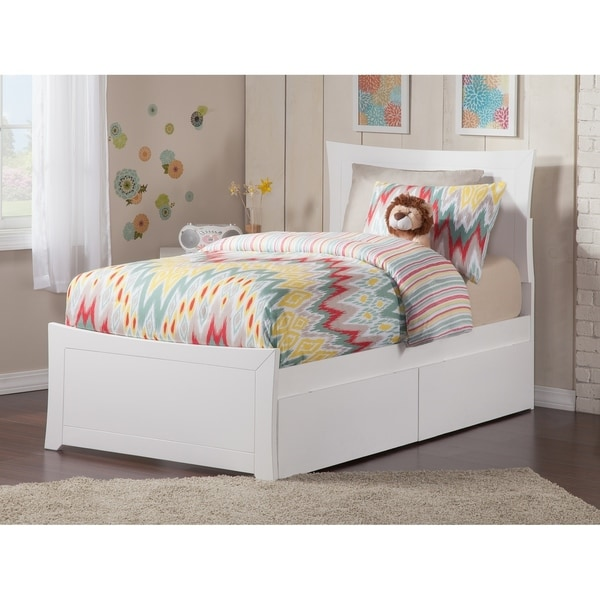 Metro Twin Platform Bed with Matching Foot Board with 2 Urban Bed Drawers in White