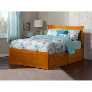 Metro Queen Platform Platform Bed with Matching Foot Board with 2 Urban Bed Drawers in Caramel