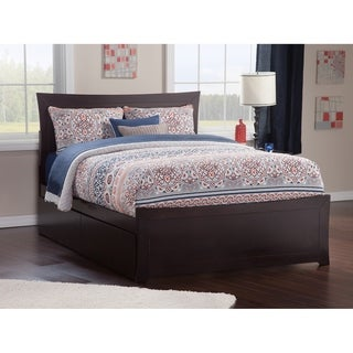 Metro Queen Platform Platform Bed with Matching Foot Board with 2 Urban Bed Drawers in Espresso
