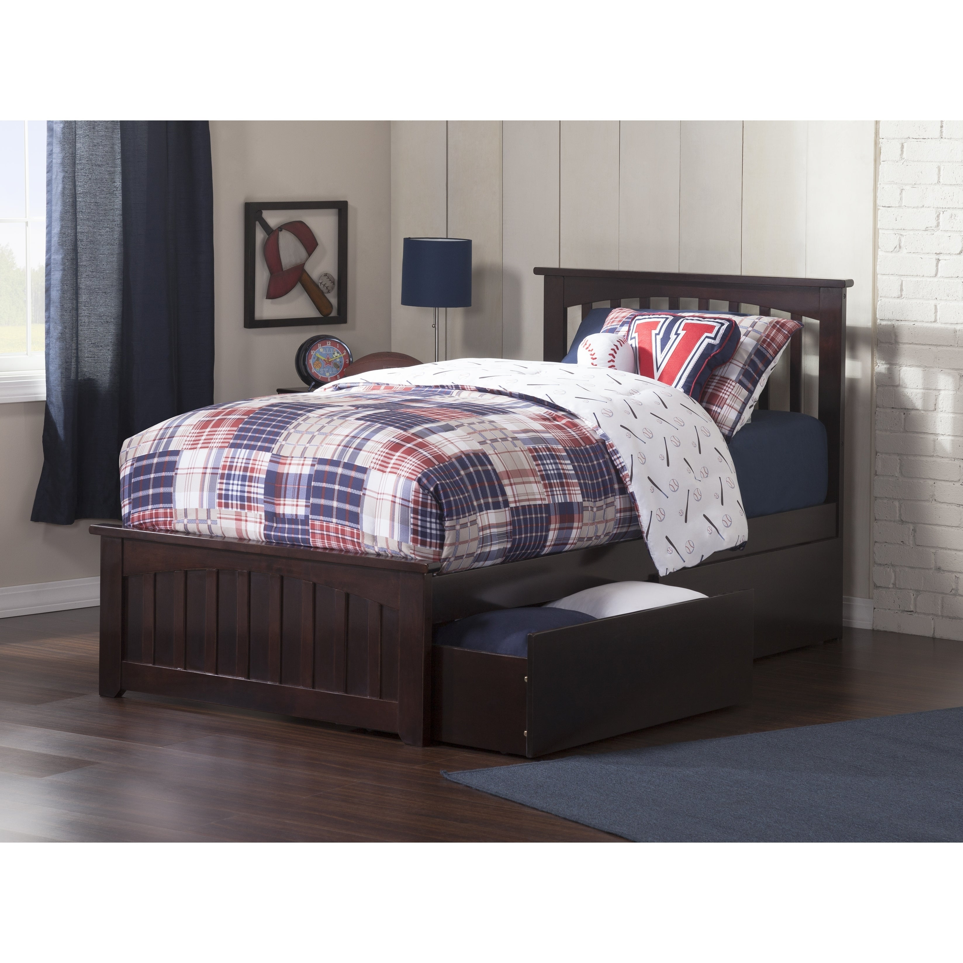 Mission Twin Platform Bed With Matching Foot Board 2 Urban Drawers In Espresso