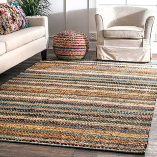 nuLOOM Contemporary Tribal  Weave Solid Stripes Multi Rug (5' x 8')