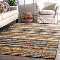nuLOOM Contemporary Tribal Weave Solid Stripes Multi Rug - 5' x 8'
