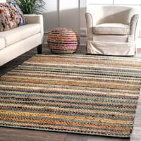 """nuLOOM Contemporary Tribal Weave Solid Stripes Multi Rug (7'6 x 9'6) - 7'6"""" x 9'6"""""""