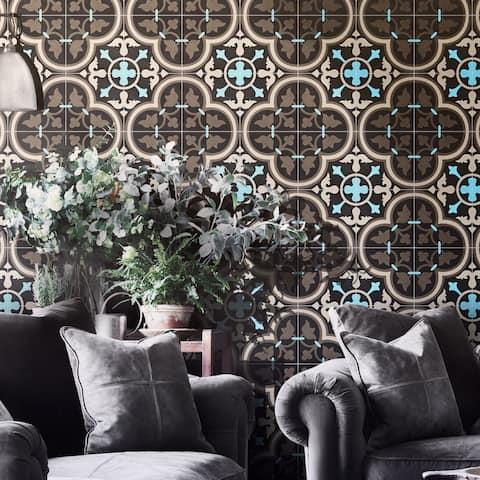 Handmade Casa in Brown, Black, Blue Tile, Pack of 12 (Morocco)