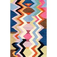 nuLOOM Handmade Tribal Chevron Rainbow Wool Rug - 6' x 9'