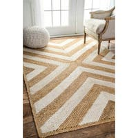 nuLOOM Patterned Chevron Jute Natural Rug - 6' x 9'