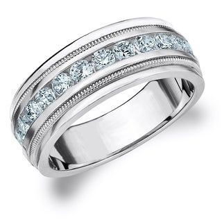 Amore 10K White Gold Men's 1.0 CT TDW Diamond Milgrain Band