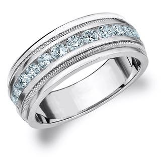 amore 10k white gold mens 10 ct tdw diamond milgrain band - Mens Wedding Rings With Diamonds