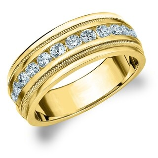 Amore 10K Yellow Gold Men's 1.0 CT TDW Diamond Milgrain Band