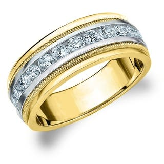 amore 10k two tone gold mens 10 ct tdw diamond milgrain band - Two Tone Wedding Rings